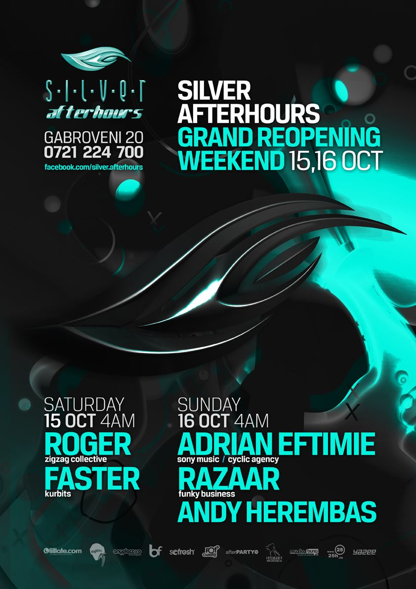 Poster design event - Silver Afterhours Reopening Weekend Flyer Poster Design Event Flyersposter Designs
