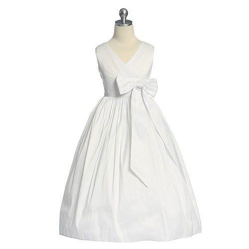 Sweet Kids Girls White Bow Flower Girl Special Occasion Dress 6M-12