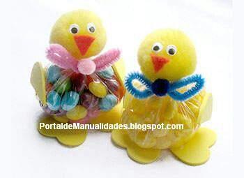 Pollitos Con Dulces Manualidades Dulceros Para Niños Pollito De Pascua