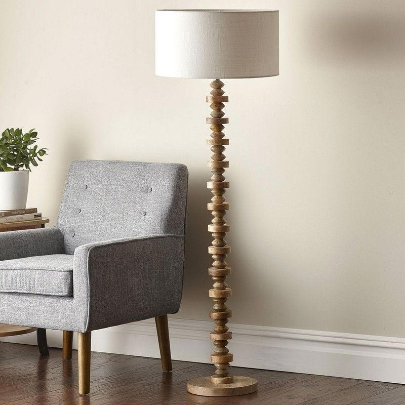 Deco Floor Lamp Deco Drama With A Natural Twist Tall Slim And Handsome The Base Of Our Floor Lamp Showcases A Deco Floor Lamp Floor Lamp Wood Floor Lamp