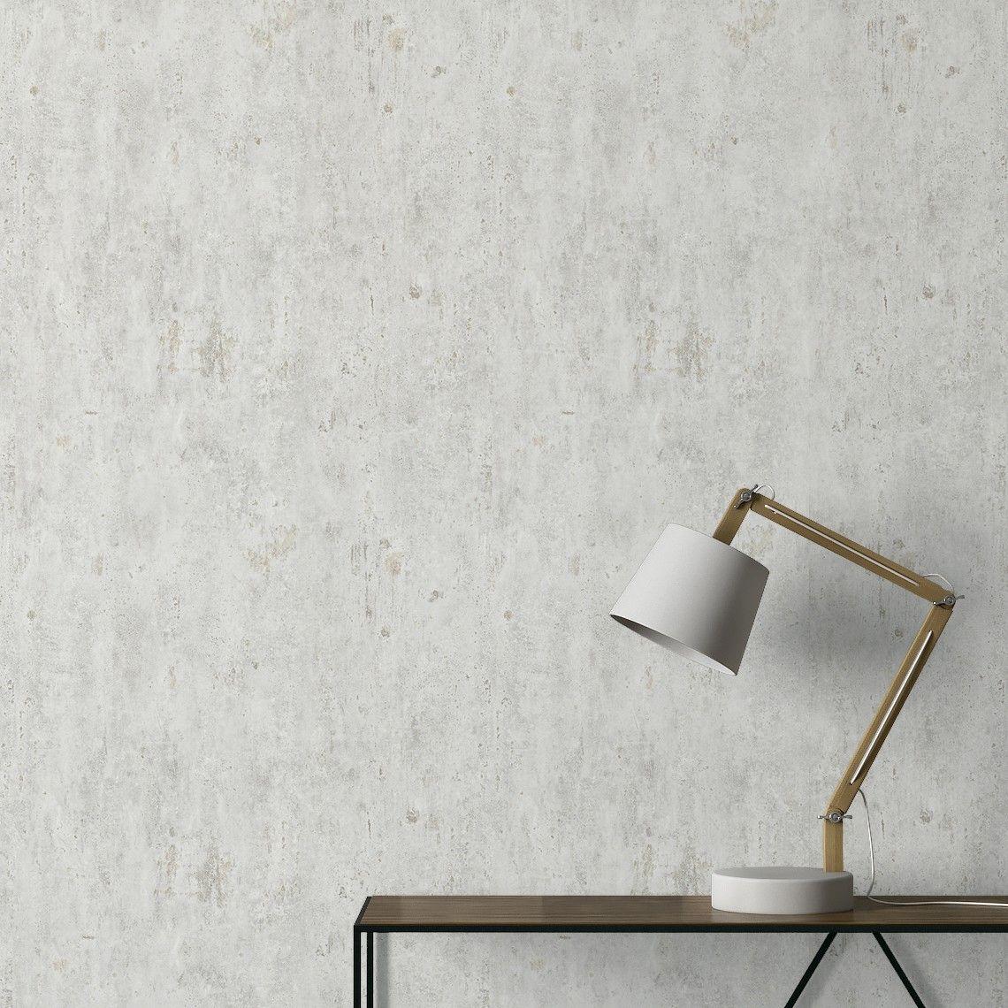 Papier Peint Laurel Vinyle Sur Papier Effet Béton Gris