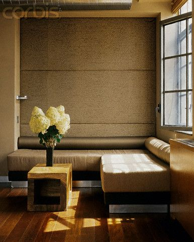 Upholstered Wall Panels above Banquette