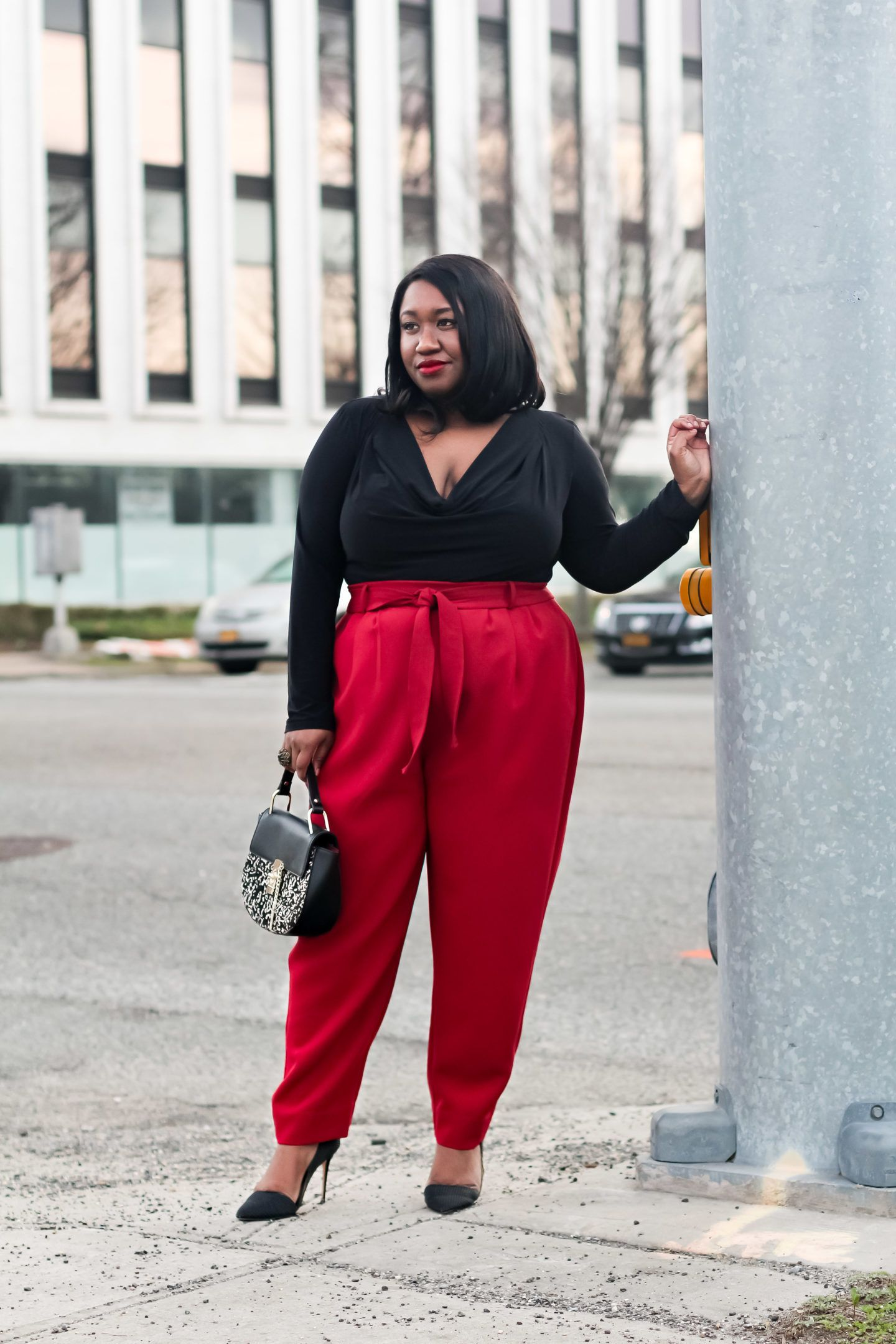 0b53207da60fa Plus Size Fashion • Plus Size Red Pants Outfit • Seeing Red • Shapely Chic  Sheri  plussize  plussizefashion
