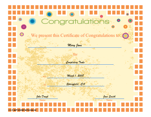 this certificate of congratulation features an orange mosaic border