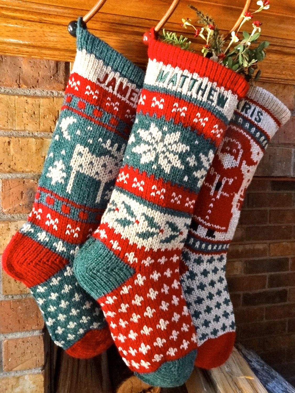 Knitted Christmas Stockings. Holly Snowflake, Wool Personalized ...
