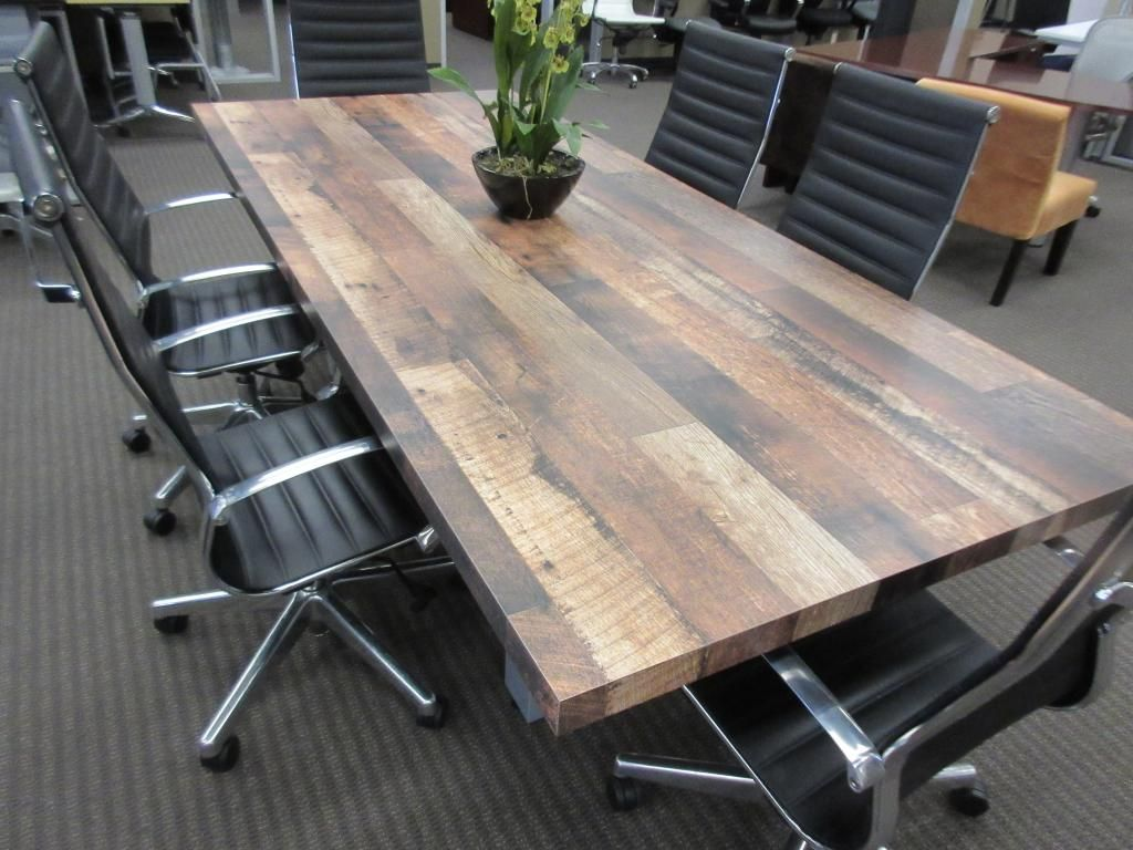 Love This Conference Table That Looks Like Reclaimed Wood But It Is Really Laminate Laminate Is So Easy To Cle Conference Room Tables Conference Table Table