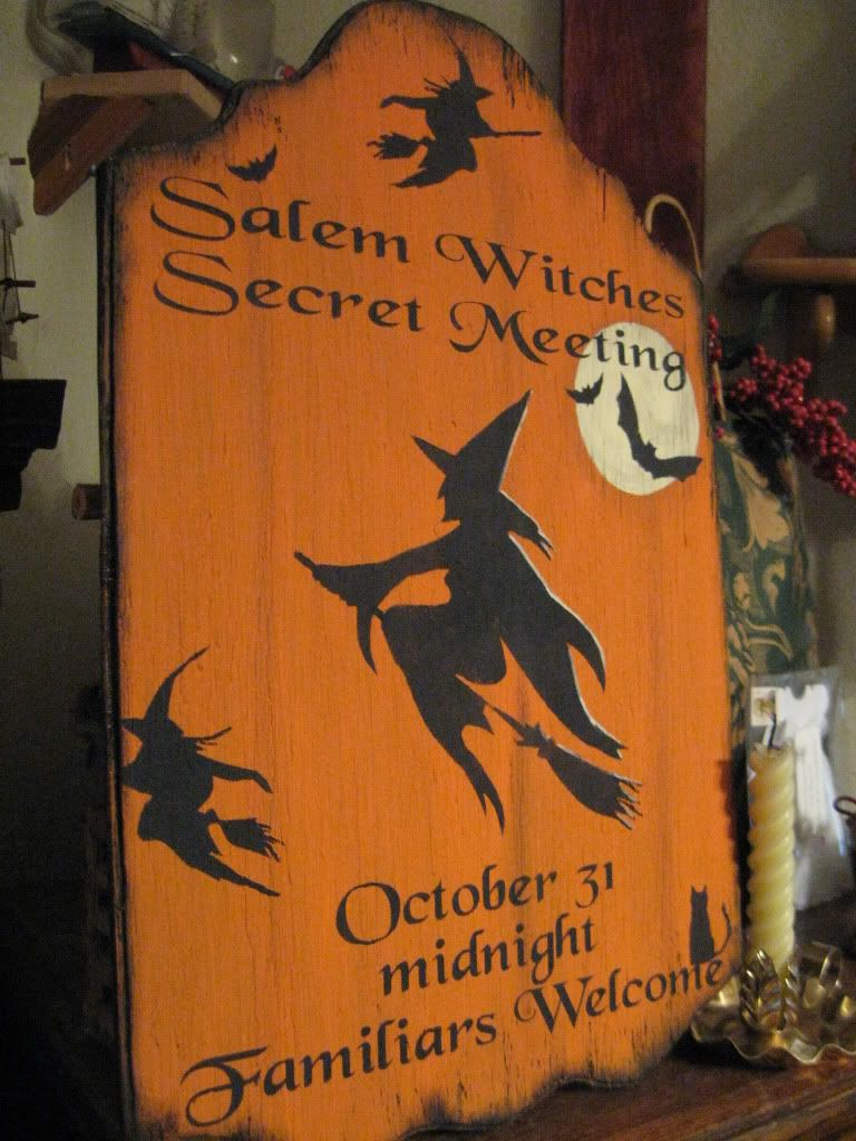 Primitive Halloween Sign Salem Witches Secret Meeting Witches, Met - Primitive Halloween Decor