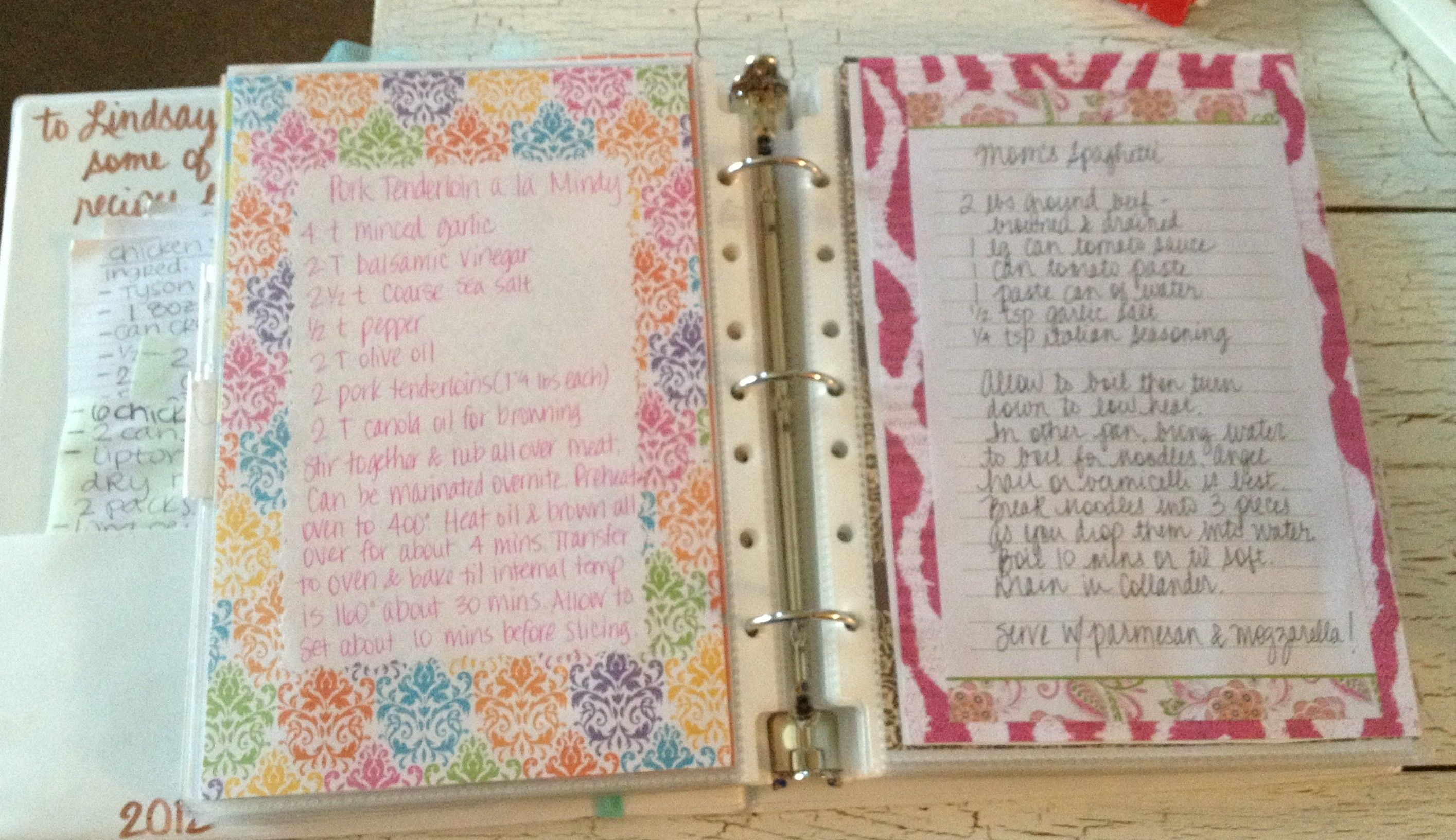 homemade cookbook, use scrapbook paper, handwritten recipes, slide in page protectors in small binder