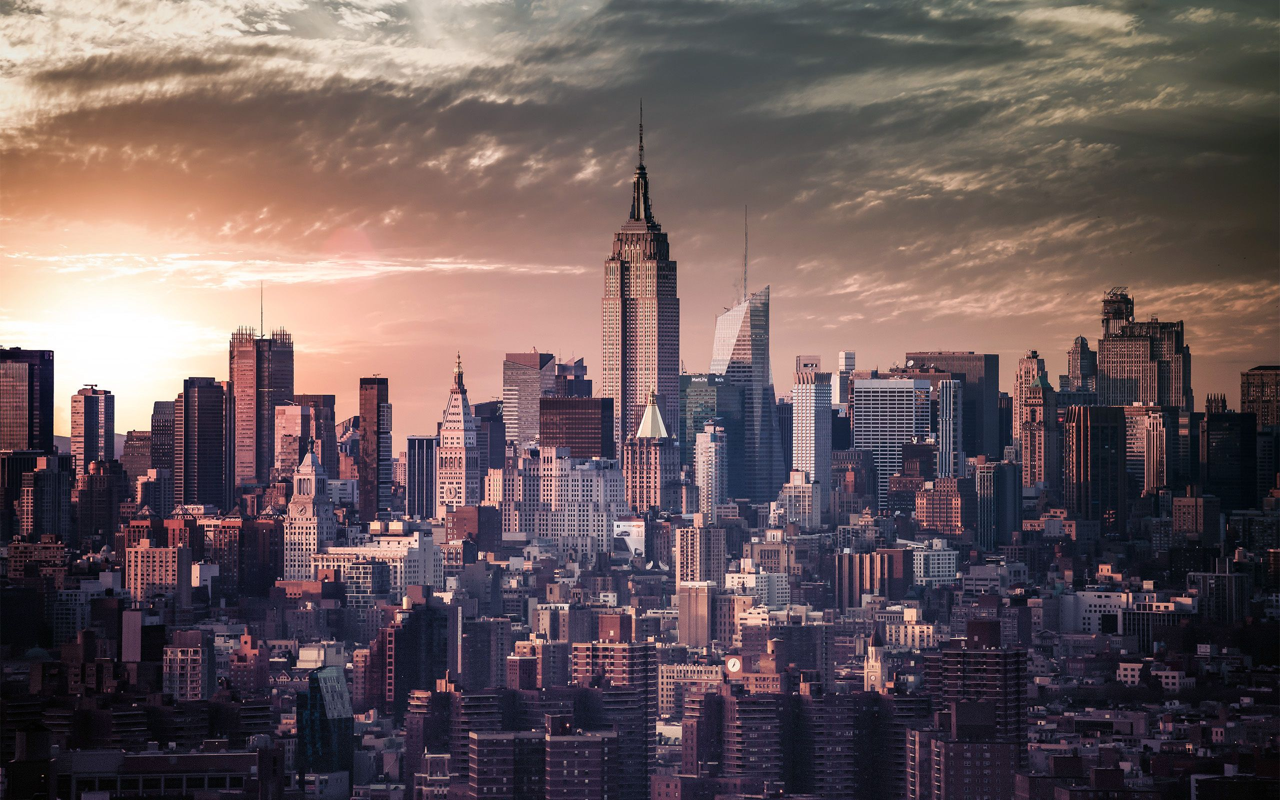 New York City Sunset Picture Gallery Wallpaper Hd Widescreen Free Download New York Wallpaper York New York City