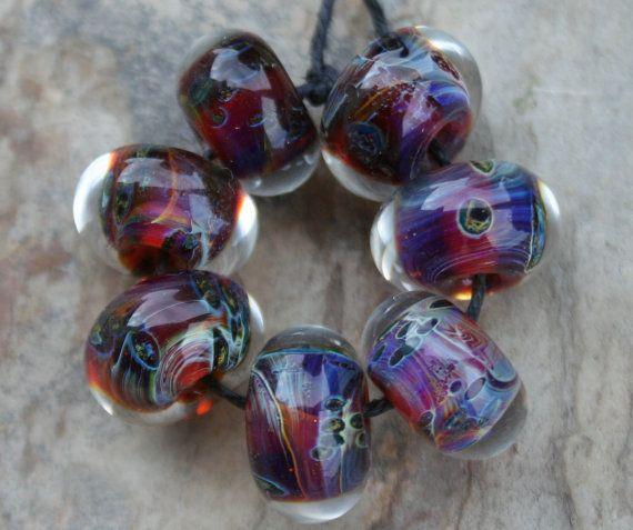 StoneyMarie Set of 7 Handmade Boro Borosilicate Lampwork Glass Beads