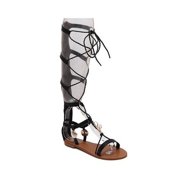 Rome Style Women's Sandals With Metal and Cross Straps Design ❤ liked on Polyvore featuring shoes, sandals, cross strap shoes, kohl shoes, black shoes, cross strap sandals and black sandals