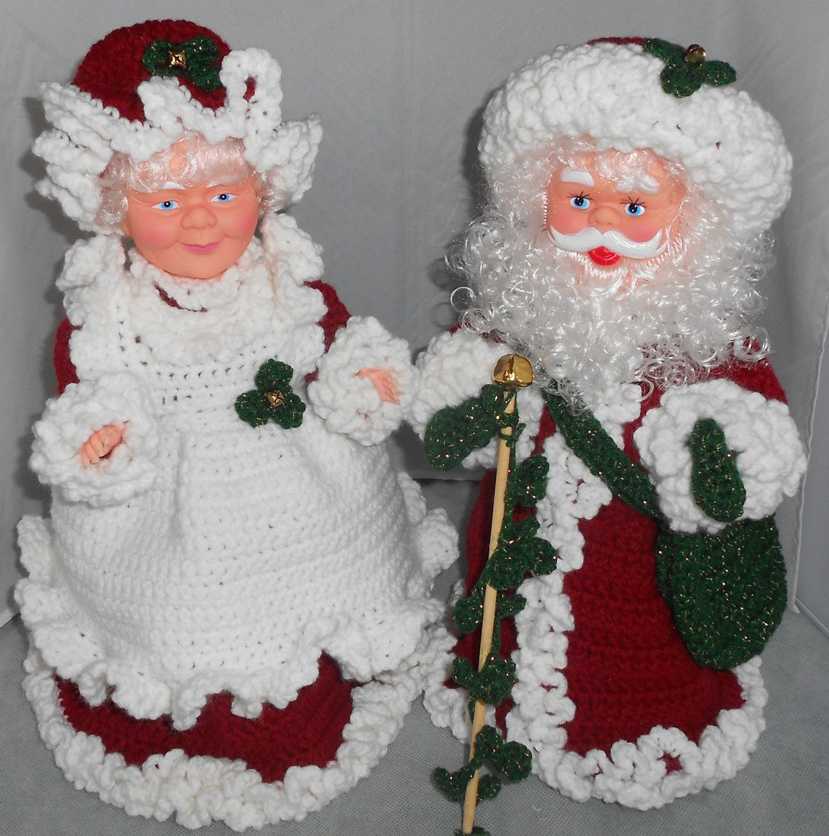 Mrs Claus Christmas Decorations Part - 29: Old World Santa Claus Dolls With Burgundy Crocheted Outfits - Mrs And Mrs  Claus Christmas Decorations
