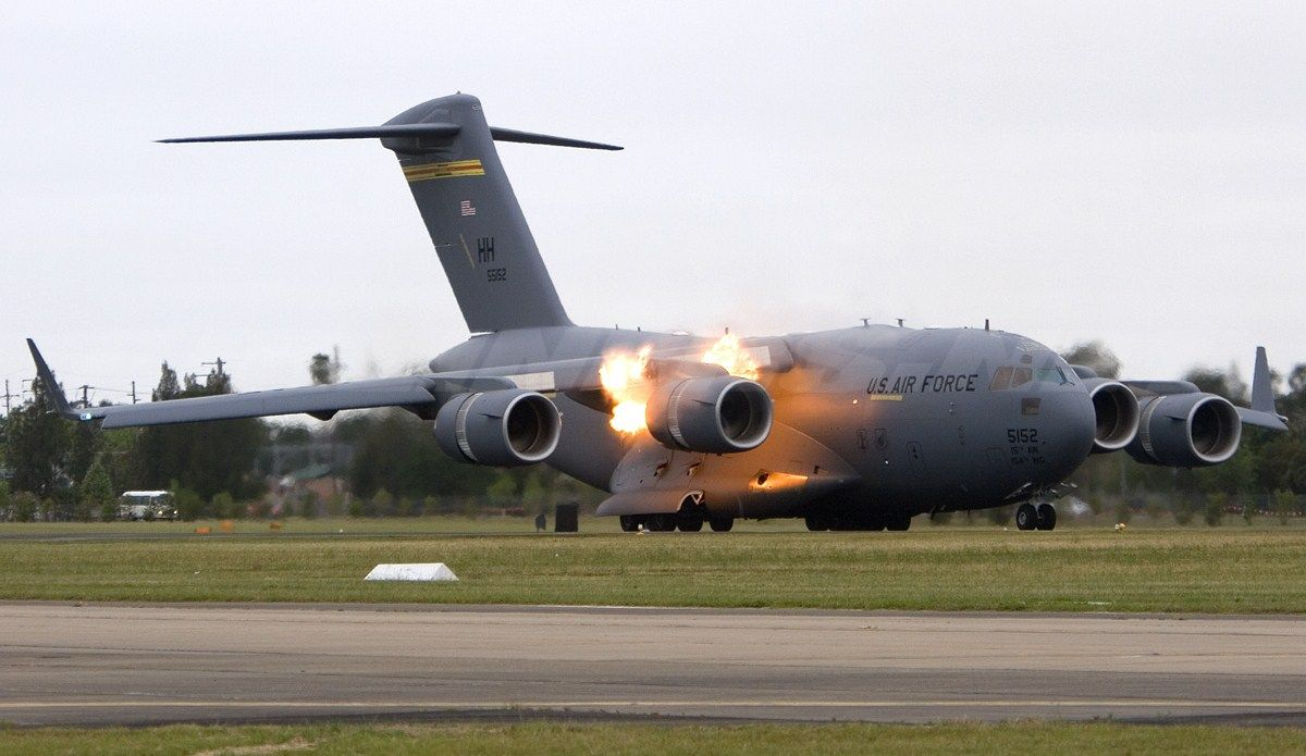 C17A Engine fire on take off Aircraft, Aviation