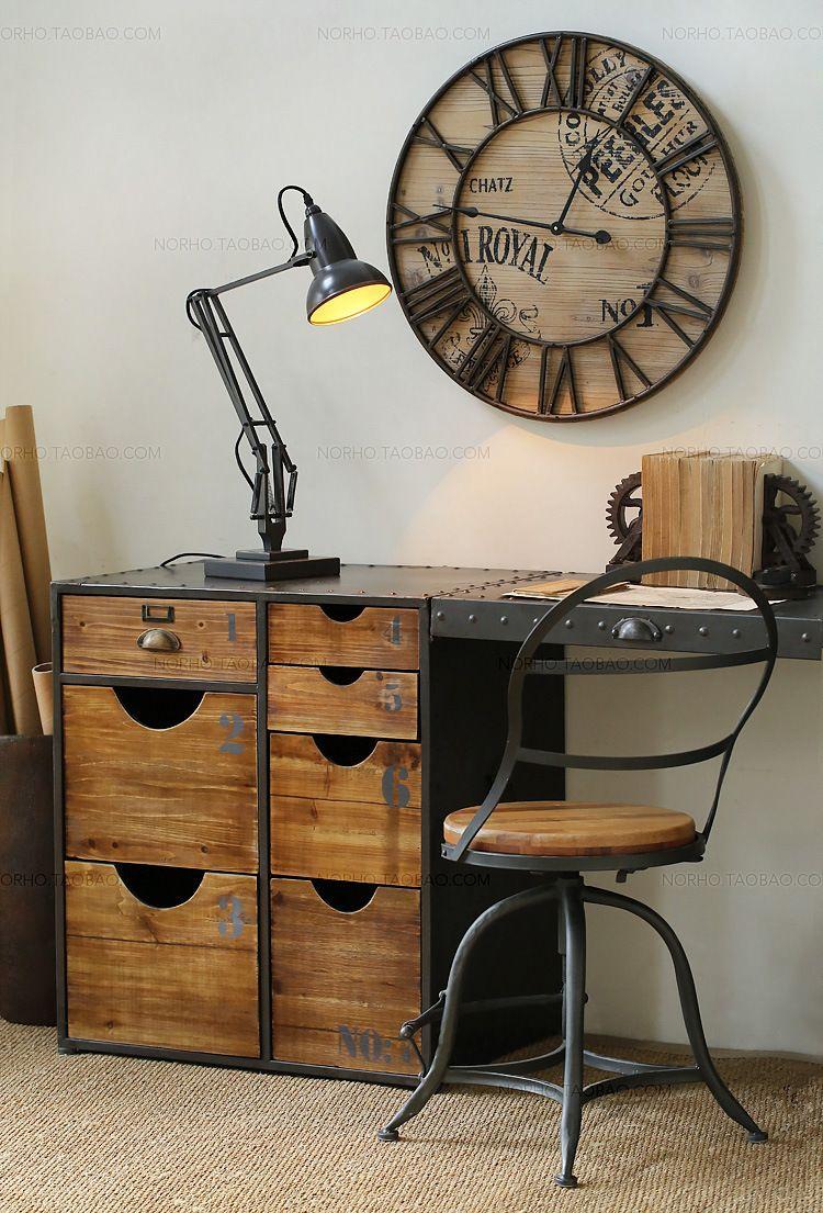 Folding Desk LOFT Industrial Wind Mash Office Desk Iron