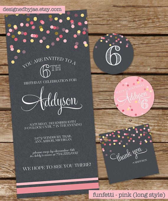 Birthday Party Invitation  Funfetti  Pink par DesignedByJae sur Etsy, $13,00