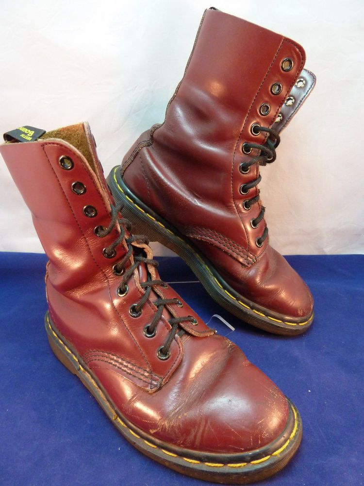 Doc Dr Martens AirWair Burgundy Red Leather Boots Lace Up 10 Hole Eye Sz 6 #