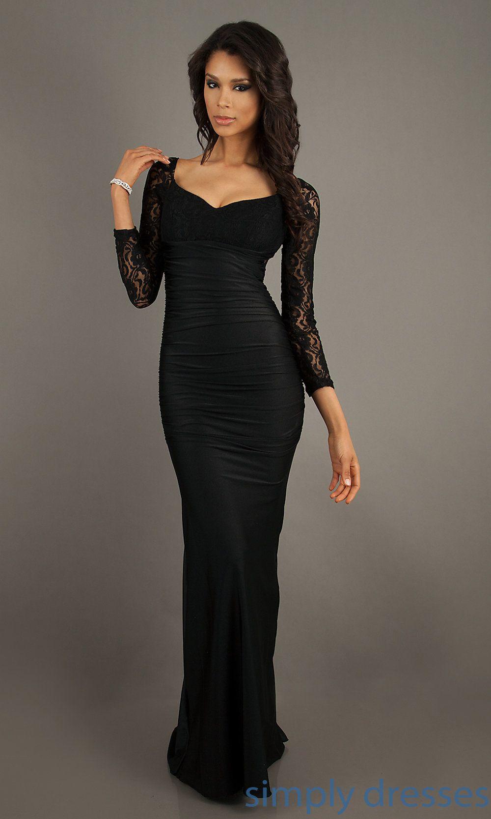 Long Sleeved Floor Length Dress, Sexy Prom Gowns | Floor length ...