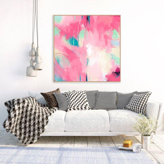 Rose Art abstrait peinture rose grand par InspirationAbstracts ...