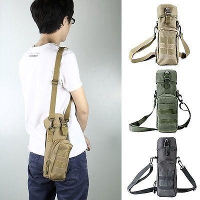 Black Durable Tactical Hiking Camping Water Bottle Holder Belt Carrier Pouch Bag