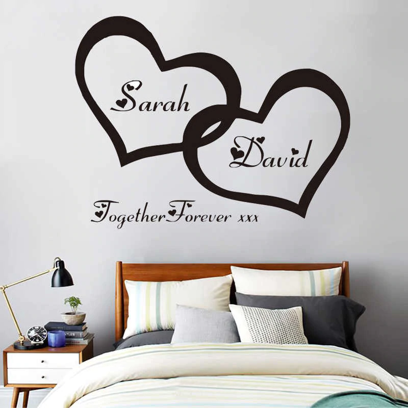Zn G255 Hearts Custom Personalised Couple Name Vinyl Art Wall Sticker Decal For Couple Bedroom Romantic Mural For Home Decor Sticker Decal Art Wall Stickername In 2020 Bedroom Wall Designs Wall Stickers