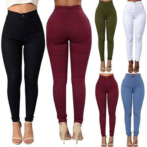 Damen Skinny Jeggings Tregging Pants Leggings Jeans Pencil Trousers Hose Stretch