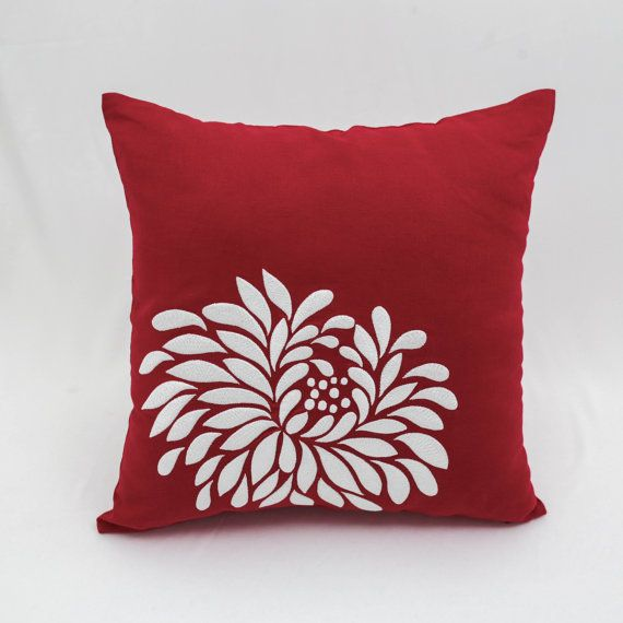 Throw Pillow Cover Red Cotton Linen Pillow Embroider Christmas