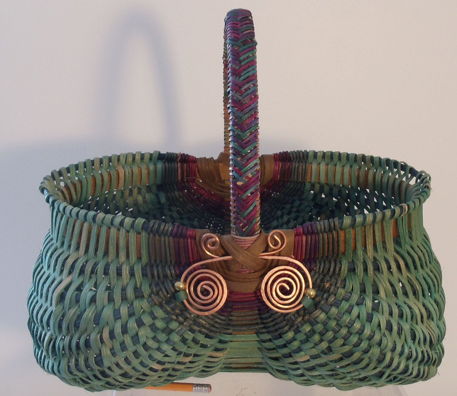 Hand woven oval BLUE EGG BASKET, Braided handle, copper bling, beads, Appalachian, primitive, J Choate Basketry.