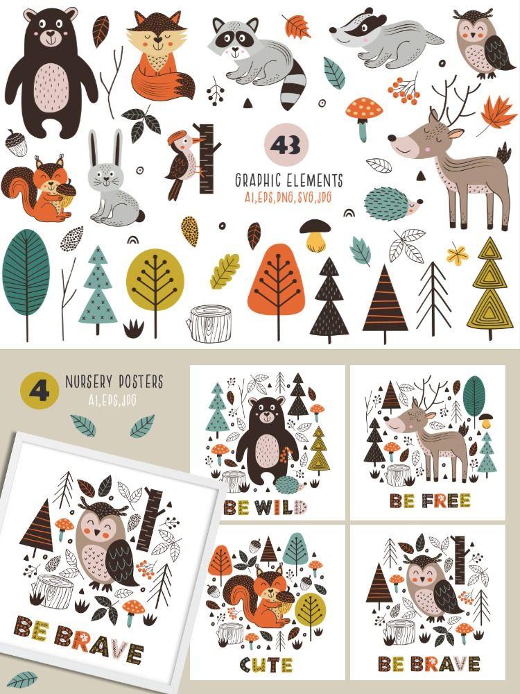 Woodland Nursery Scandinavian Forest Animals Clipart Woodland Etsy In 2021 Forest Animals Woodland Nursery Forest Animal Nursery