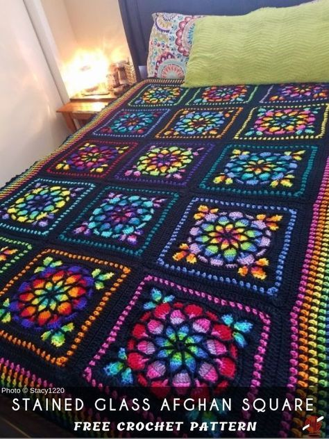 Stained Glass Afghan Crochet Square Wzory Szydelkowe