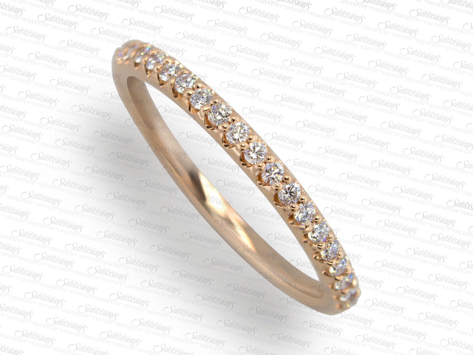 Wedding Anniversary Diamond Ring 0.20 Carats, Rose Gold