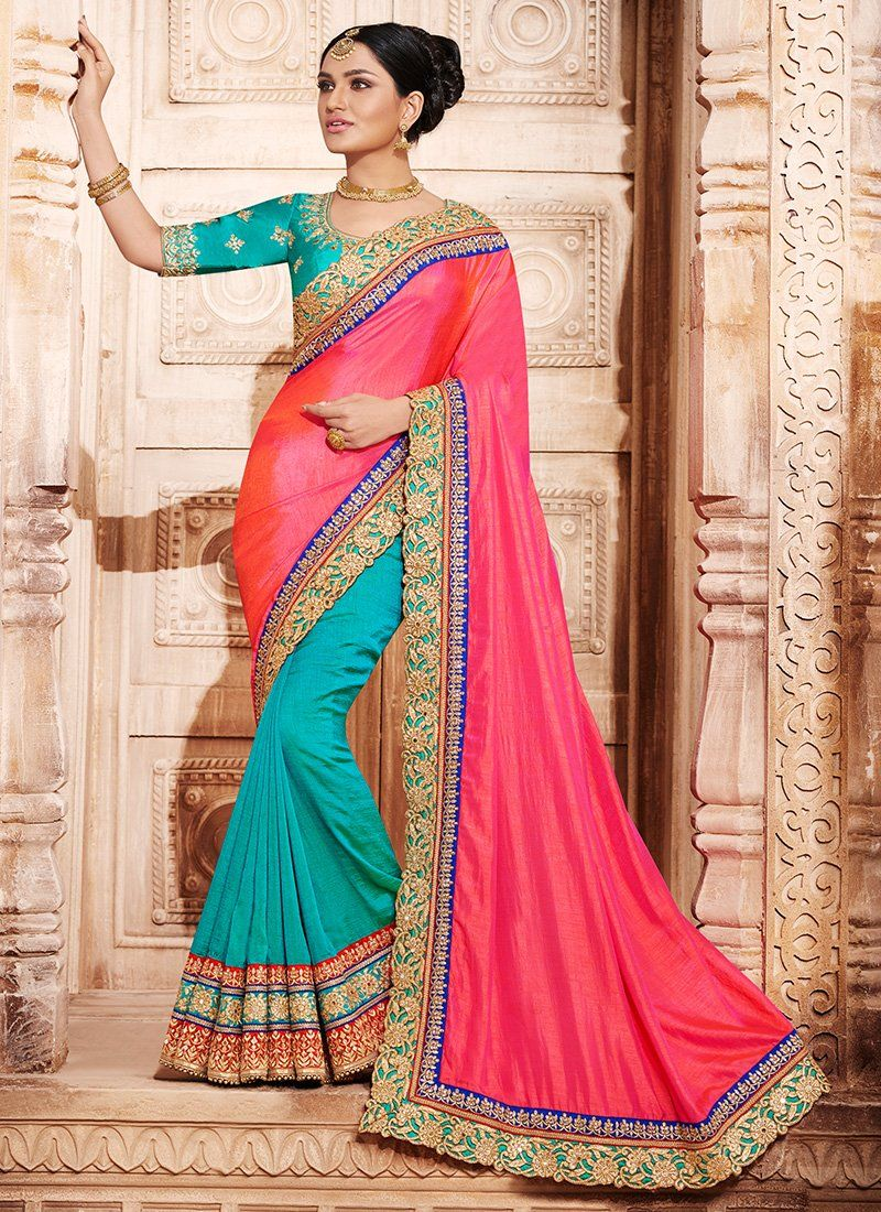 Pink and Blue Embroidered Silk Saree