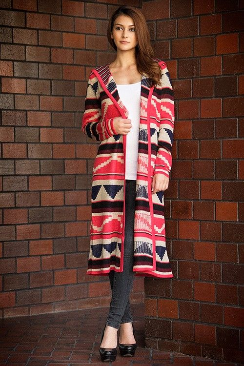Tribal aztec hooded cardigan, 2013 women long aztec cardigan ...