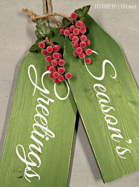 Repurposed Holiday Door Tags Christmas Wood Xmas Crafts