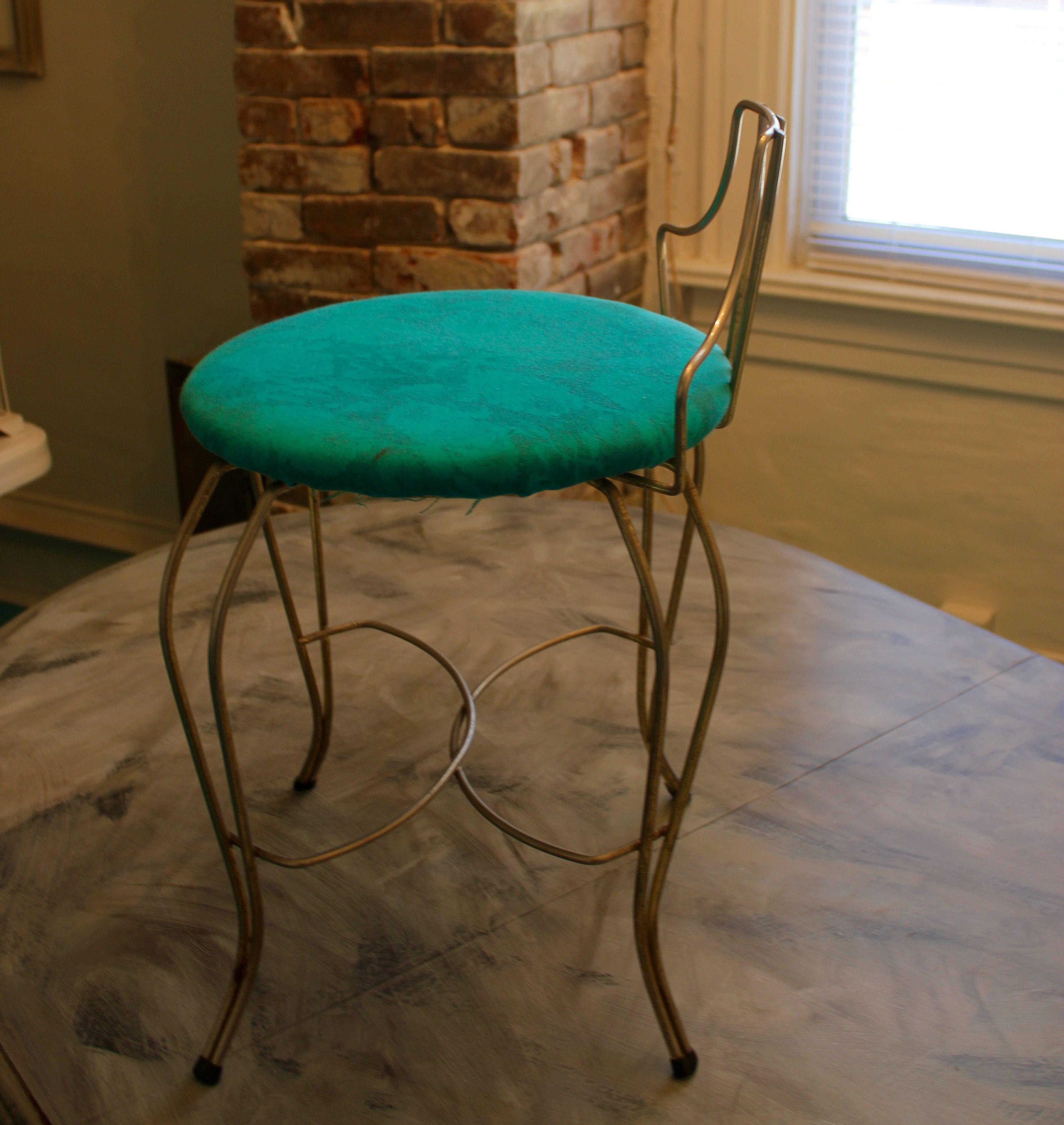 Vintage Vanity Metal Chair vintage vanity chair mid century