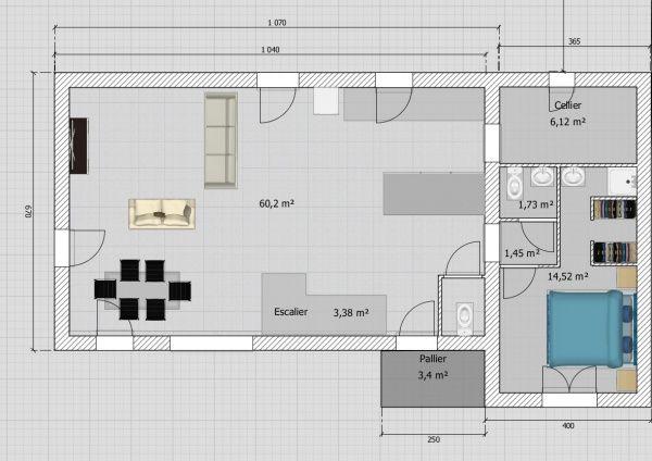 Maison de 110M² avec Étage sur terrain de 450M² + Garage Aménageable - plan maison 110m2 etage