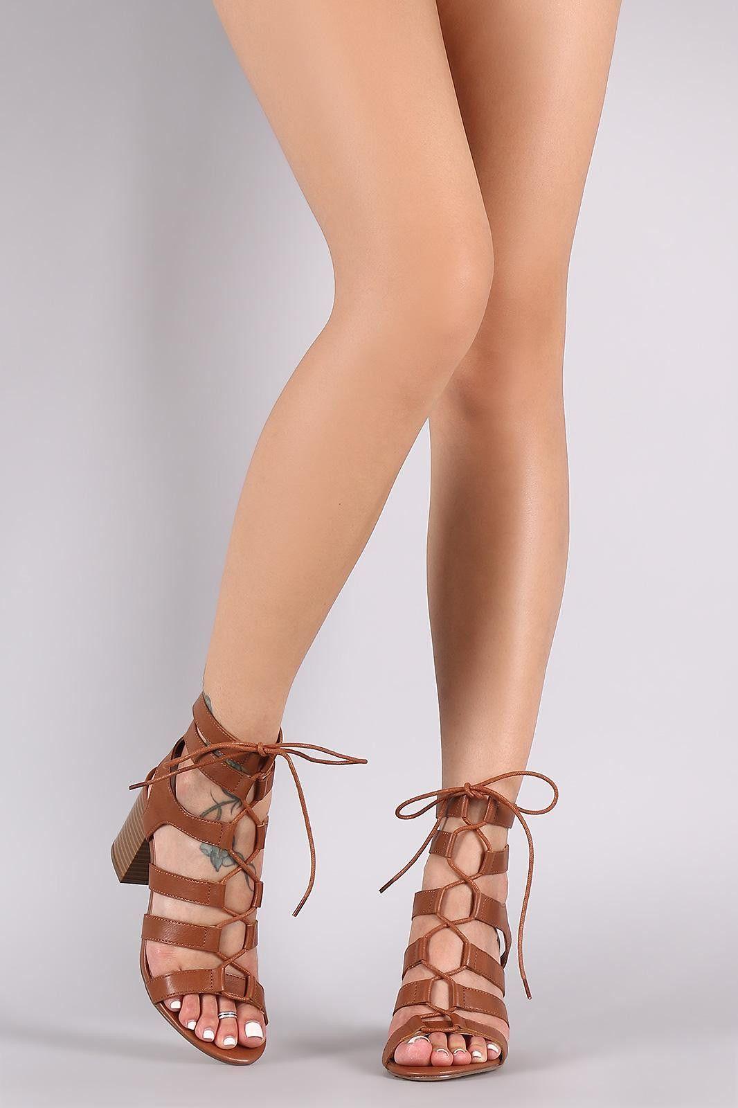 Lace Up Gladiator Chunky Heel   Chunky heels, Lace up, Heels