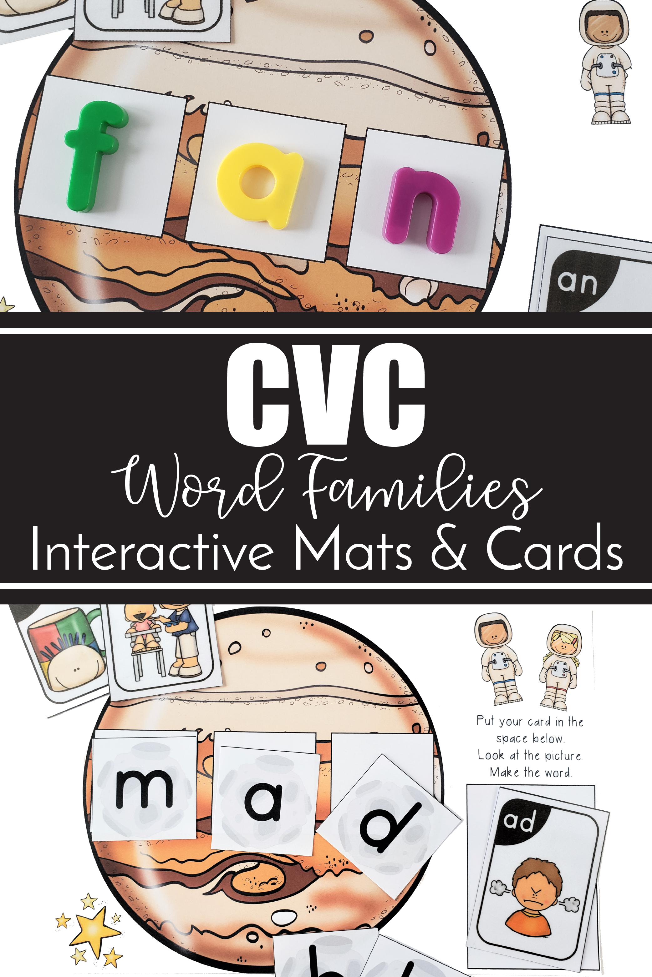 Cvc Word Family Interactive Mats And Cards Space Theme Cvc Word Families Cvc Words Word Families