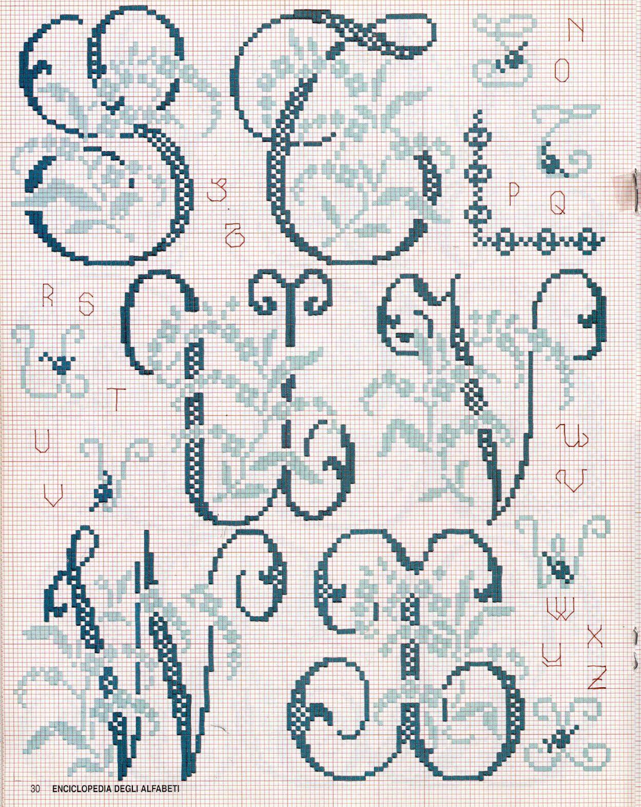 GRAFICOS PUNTO DE CRUZ GRATIS : INICIALES(14) | Alfabeto I ...
