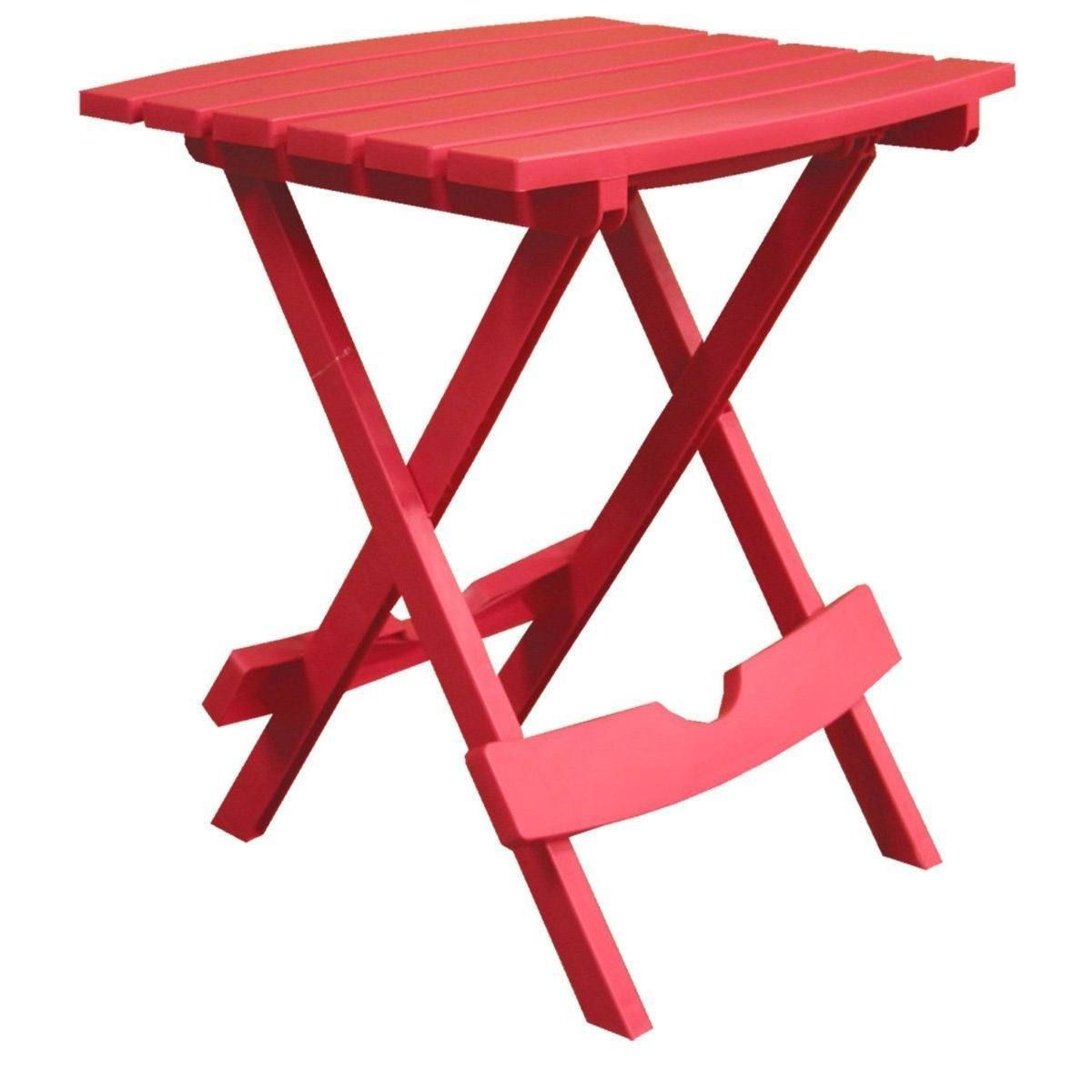 Folding side table for outdoor patio lawn in cherry red durable