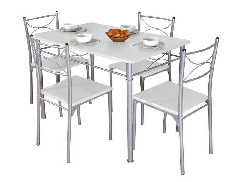 Awesome Ensemble Table Rectangulaire 4 Chaises Tuti Coloris Blanc Gris Conforama Check More At Http Casadecoration Com Shop Cuisine Salle De Bain Ensemble