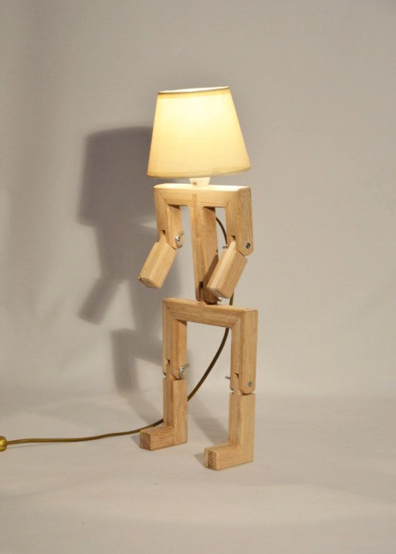 Wooden Design Lamp In The Form Of A Little Personage With Lamparas - Lampara-de-madera