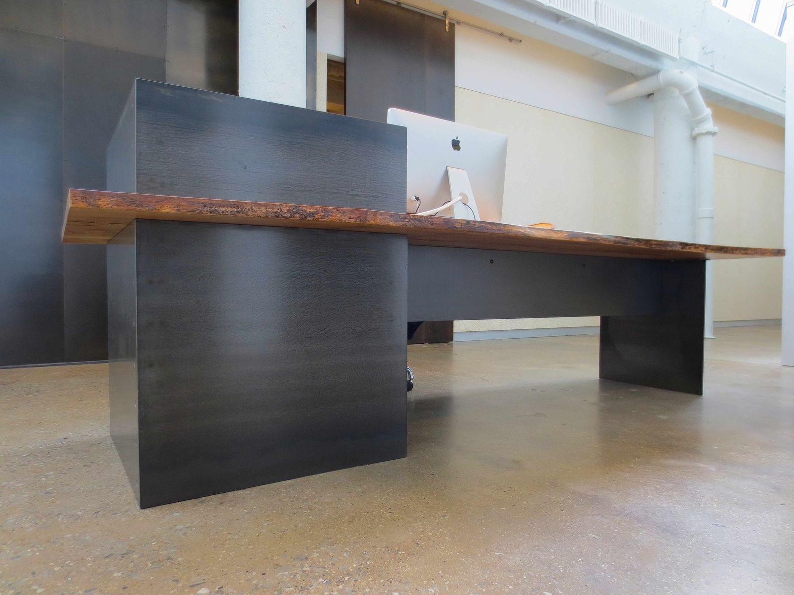 Custom Made Metal Modern Plate Steel Reception Desk With Maple Live Edge Slab