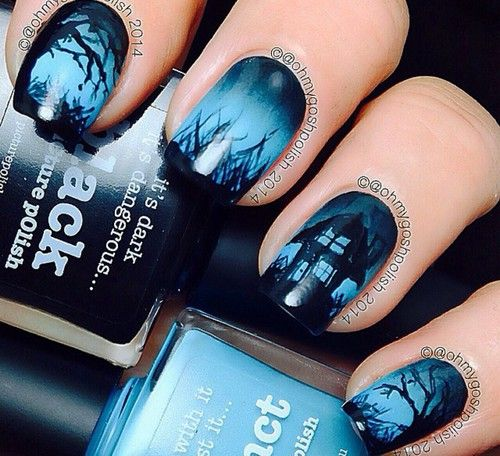 Black Blue Haunted House Nails Halloween Nail Art Tutorial Halloween Nail Art Halloween Nail Designs