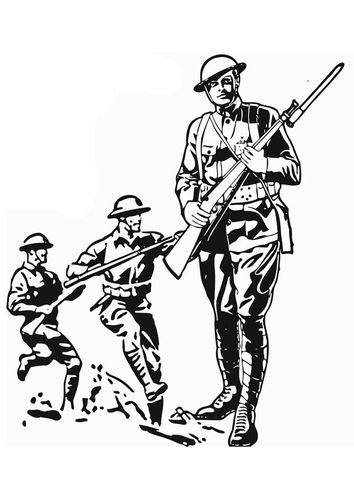 Kleurplaten Van De Oorlog.Kleurplaat Soldaat Woi Stage 4 Oorlog Kleurplaten