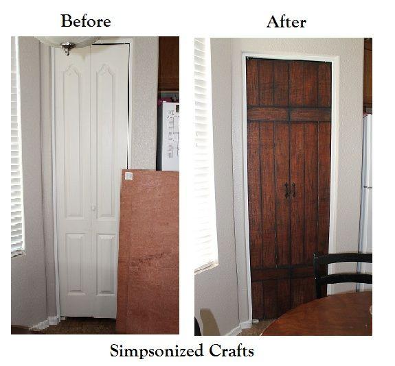 Simpsonized Crafts Turning Bi Fold Doors Into Faux Barn Door Tutorial Or 6 Panel Idea Value Bifold Doors Door Makeover Decor