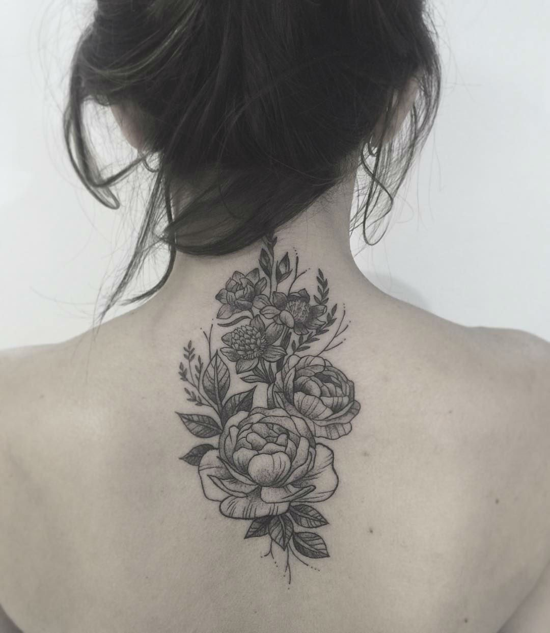 Gabriela Arzabe Creates Stunning Botanical Tattoos Neck Tattoo Cover Up Floral Back Tattoos Feminine Back Tattoos