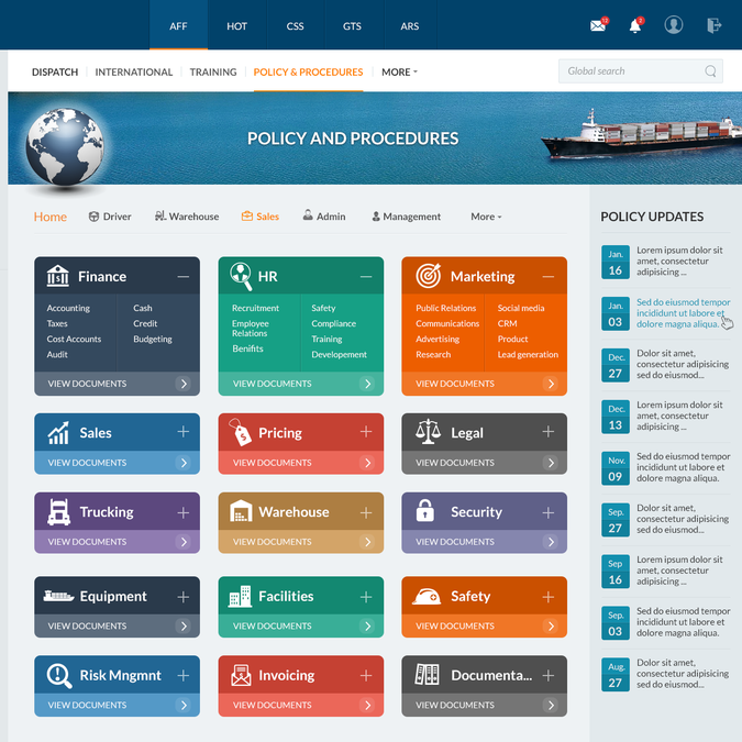 Design a transportation sharepoint intranet homepage for Intranet portal design templates
