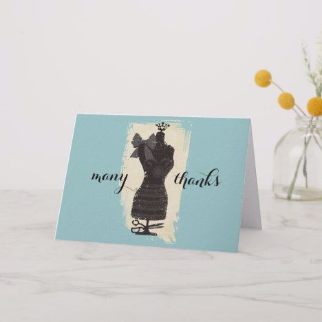 custom color dress dummy fashion mannequin sewing thank you card