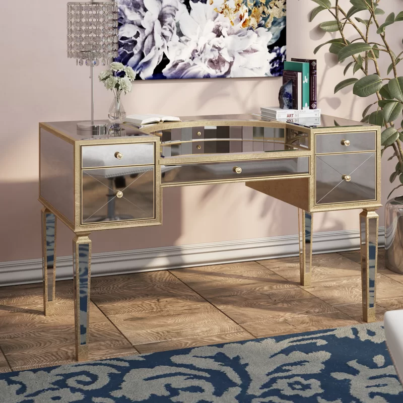 Roehl Mirrored Writing Desk In 2020 Writing Desk Desk Desk