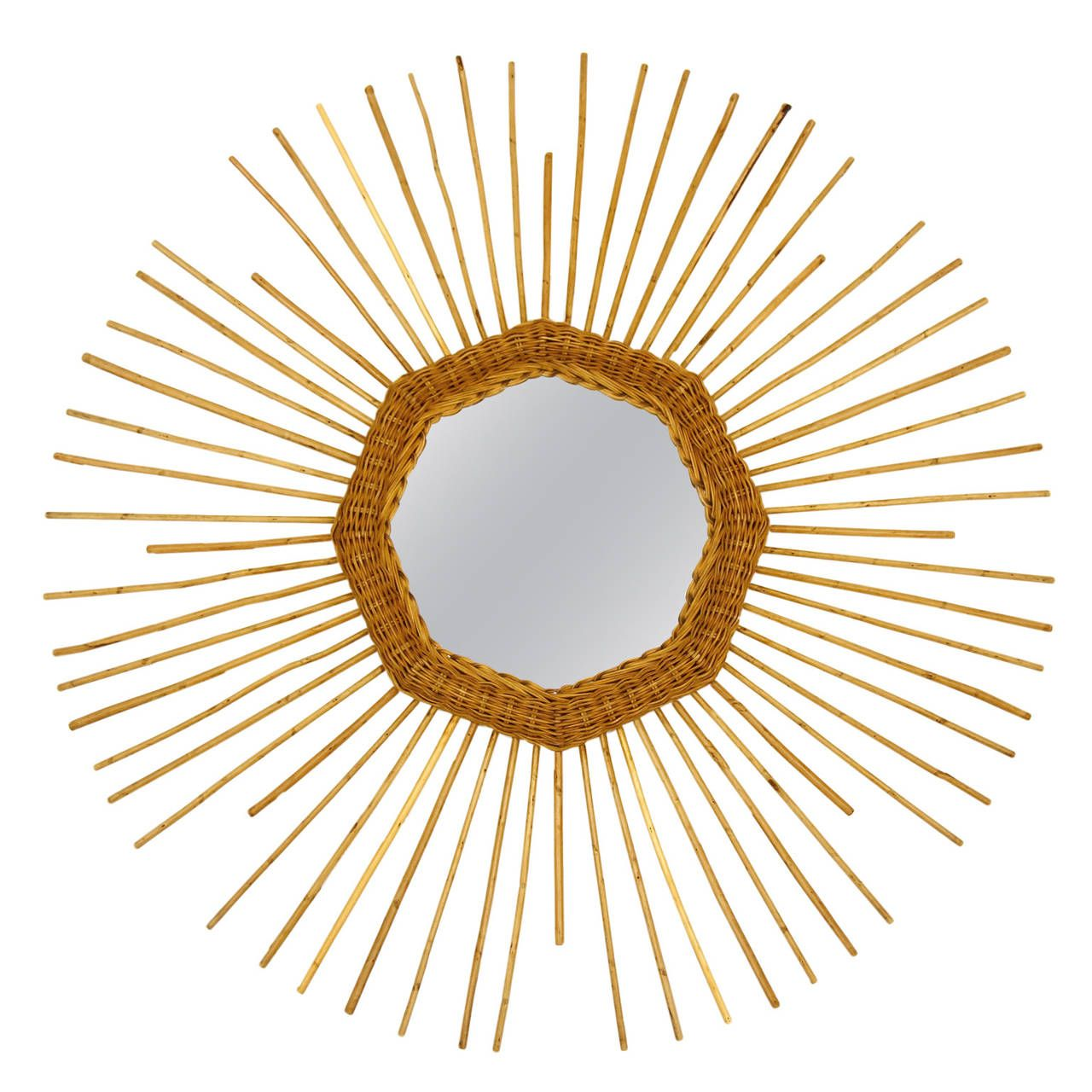 Exceptional French Rattan Sunburst Mirror | From a unique collection of antique and modern wall mirrors at https://www.1stdibs.com/furniture/mirrors/wall-mirrors/